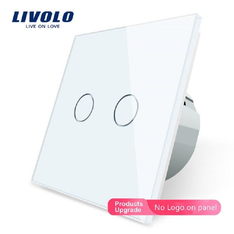 Livolo 2 Gang 1 طريقة مفتاح حائط يعمل باللمس ، أبيض كريستال زجاج لوحة التبديل ، الاتحاد الأوروبي القياسية ، 220-250 فولت ، VL-C702-1/2/3/5