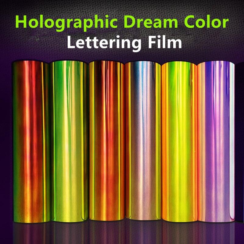 Самоклеящаяся голографическая рекламная пленка HTV 7 цветов с логотипом мгновенная наклейка пленка с надписью металлизированная теплоперед...