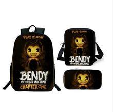 3pcs/Set School Bag Bendy and The Ink Machine Backpack Children Combination Bookbag Boys Girls School Backpack Daily Mochila