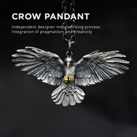 vintage silver plated crow necklace pendant personality men women eagle necklace punk hip hop chain fashion jewelry party gifts