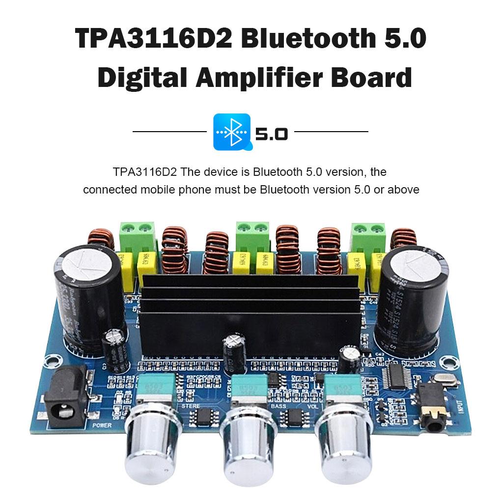 Módulo amplificador de potencia Bluetooth 5,0, 2,1 canales, TPA3116D2, 100W + 2x50W,...