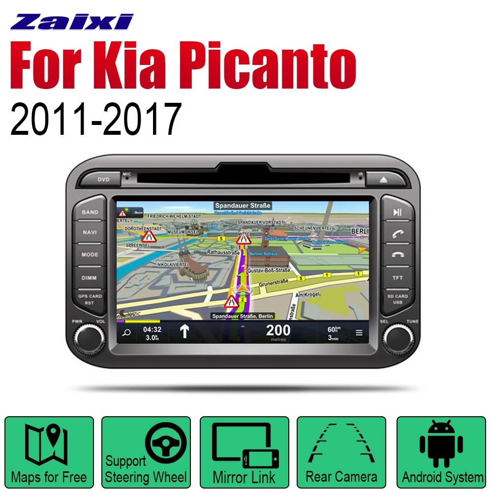 ZaiXi Auto Radio 2 Din reproductor DVD Android para el coche para Kia picanto Morning 2011 ~ 2017 navegación GPS BT mapa WiFi sistema Multimedia