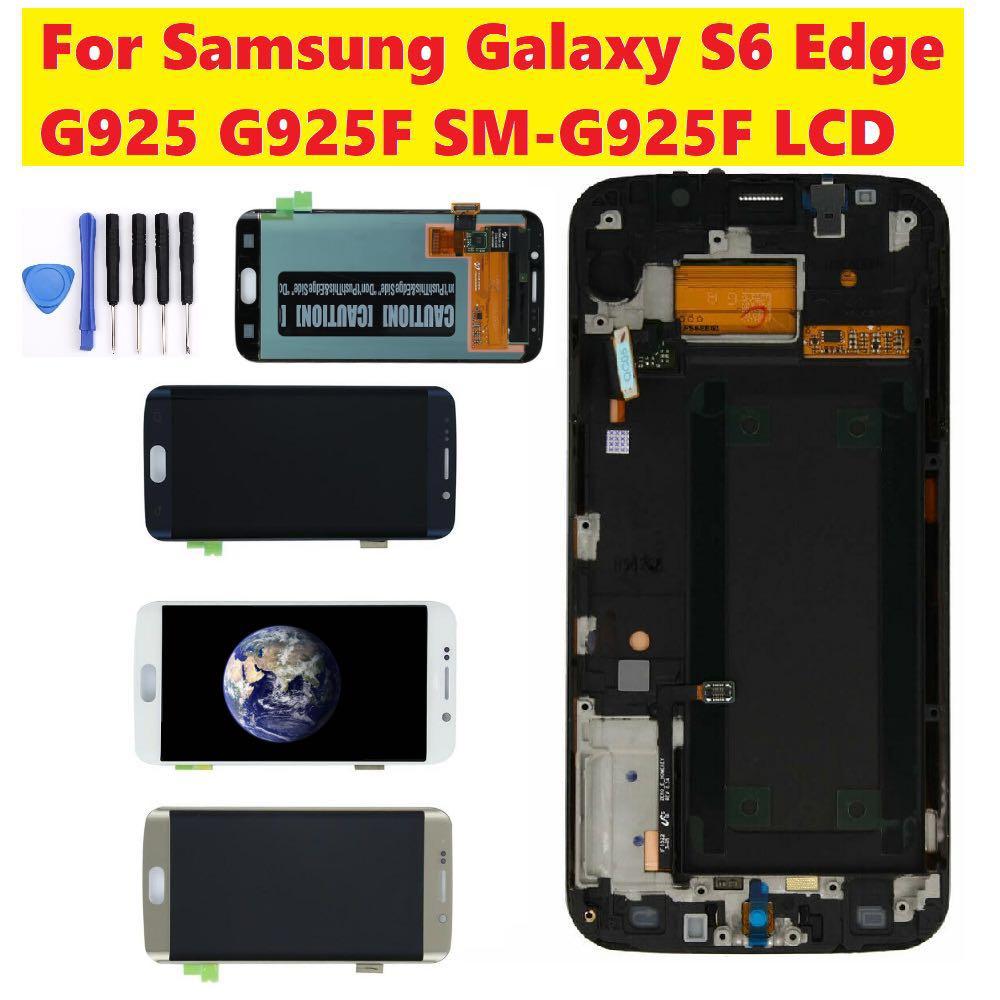 AMOLED لسامسونج غالاكسي S6 حافة SM-G925F G925F G925I LCD عرض تعمل باللمس محول الأرقام لسامسونج s6 حافة g925f lcd