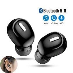 Mini sem fio bluetooth 5.0 fone de ouvido no esporte com microfone handsfree fones para samsung huawei todo o telefone