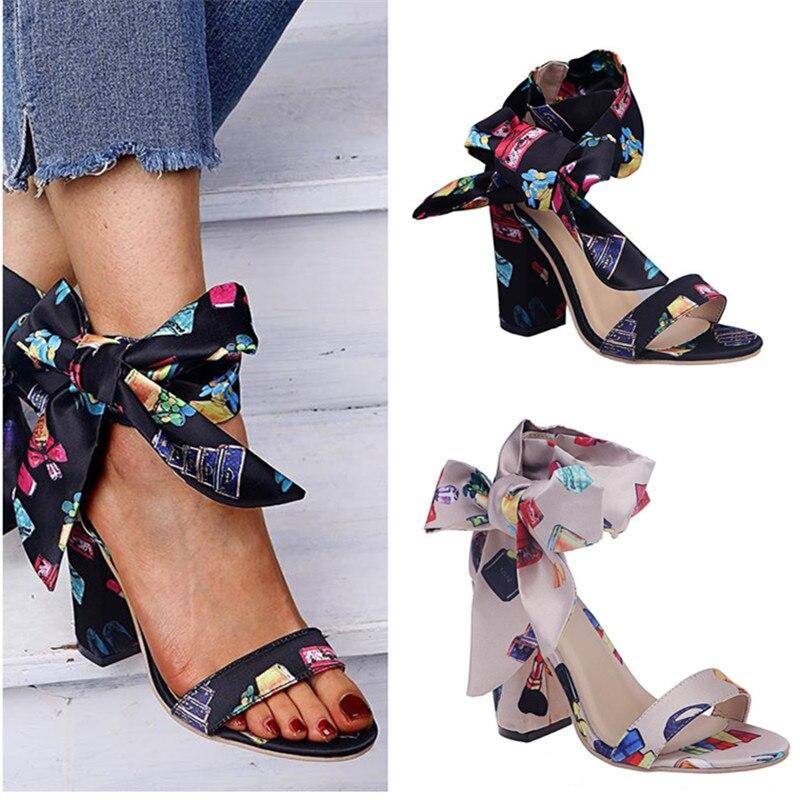 Sandalias de verano de talla grande con lazo y tacón alto para mujer, sandalias transpirables con punta abierta y Boca de pescado, diseño de corbata con lazo, tacones altos a la moda