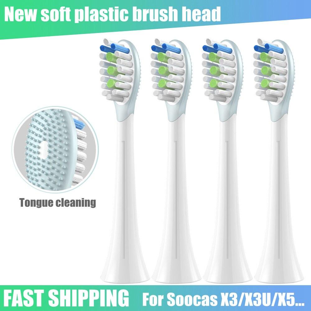 Новая сменная насадка для зубной щетки Soocas X1 X3U X5 V1 Sonic электрическая зубная щетка Dupont мягкая щетина насадка для чистки языка