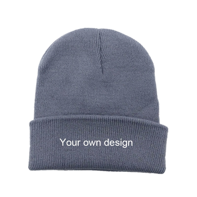 Embroidered Custom Logo Winter Hats for Woman New Beanies Knitted Solid Cute Hat Warmer Bonnet Ladies Casual Cap