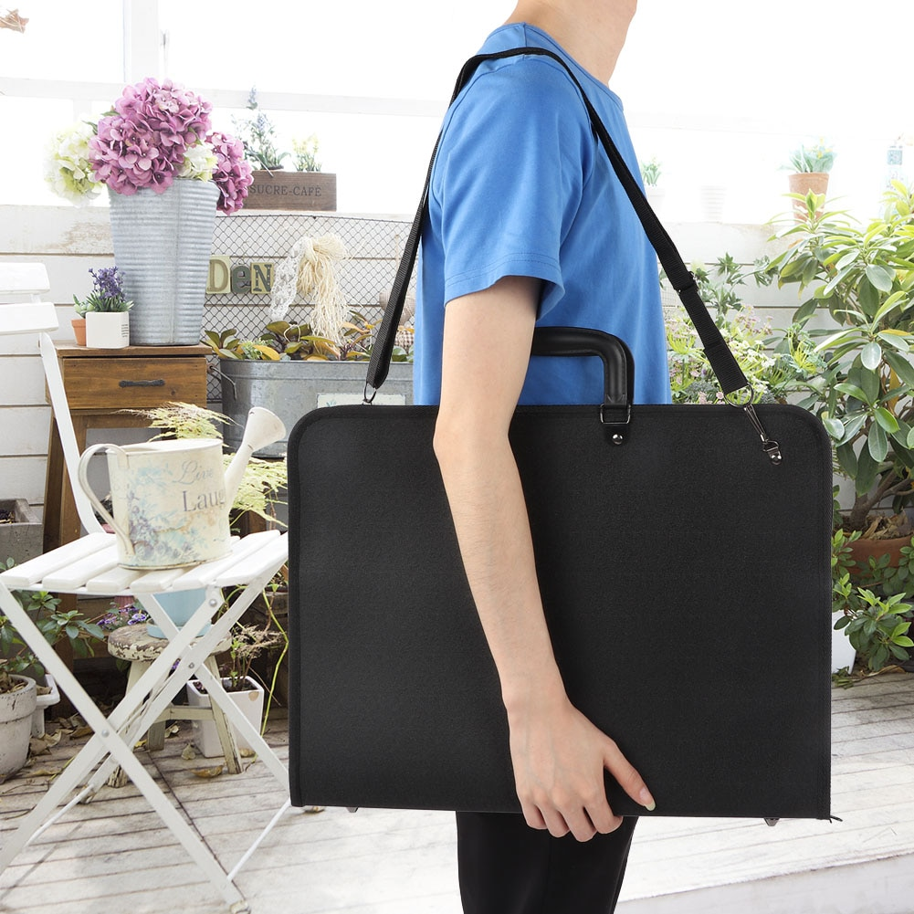 Black PVC Painting Bag A3 Drawing Sketch Board Storage File Men Women Bag Document Carry Case Office Painting Art Supplies solid colors fashion art bag school art supplies 4k large sketch painting board bag waterproof drawing bag for artist