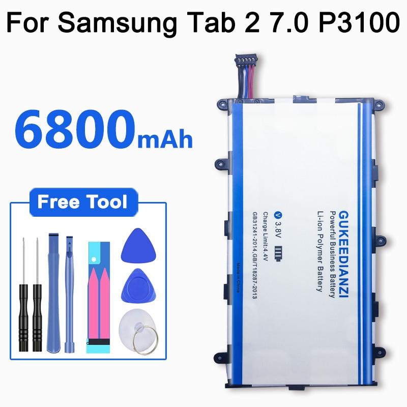 GUKEEDIANZI Tablet Li-ion Polymer Replacement Battery SP4960C3B 6800mAh For Samsung GALAXY Tab 2 7.0 GT P3100 P3110 P3113 P6200