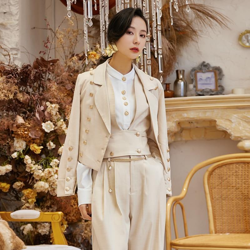 AKSAYA Women Three Piece Set Neutral Handsome Suit Brithish Vintage Style Pantsuit Popular Elegant Outfits Blouse Short Suits
