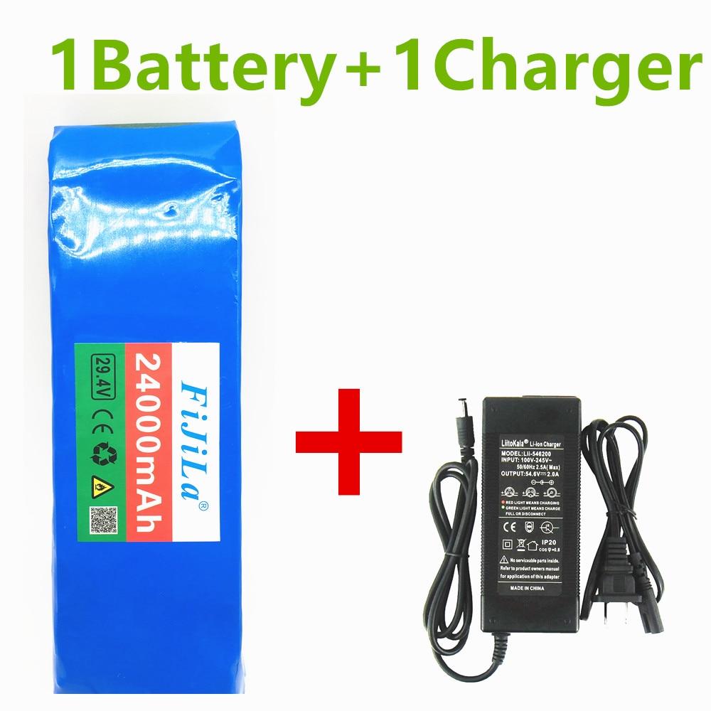 100% batería de iones de litio original 7s3p 29,4 V 24Ah con 20A BMS para bicicleta eléctrica, scooter, silla de ruedas eléctrica + cargador