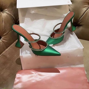 Female Summer Pumps Silk Pointed Toe Party Shoes Women Ankle Buckle Strap Breathable High Heels Casual Ladies Footwear
