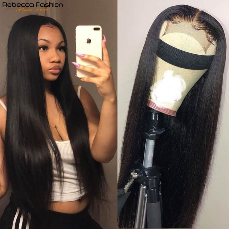 Rebecca Short Straight Lace Front Wig Human Hair Wigs 4×4 Lace Closure Wig For Women Pre-plucked Br