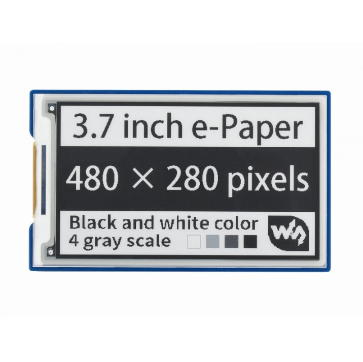 Waveshare 3.7inch e-Paper e-Ink Display HAT For Raspberry Pi, 480*280, Black / White, 4 Grey Scales, SPI waveshare universal e paper raw panel driver hat used to drive various spi interface e paper from waveshare