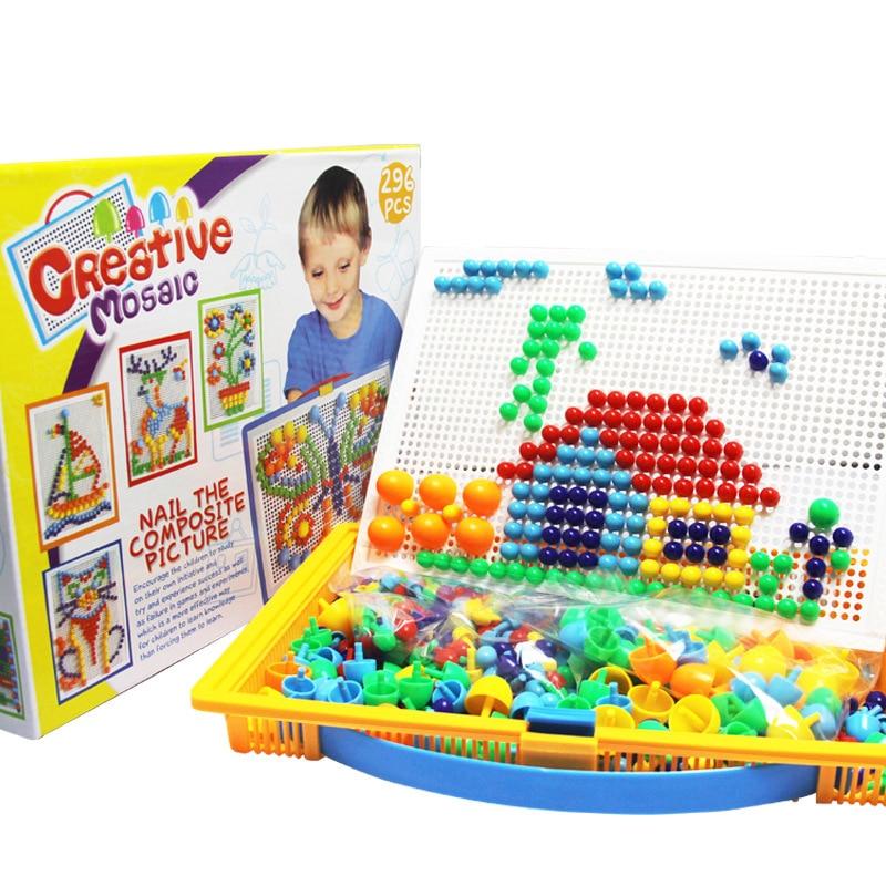 3WBOX 296 шт. коробка-Упаковка Зерна грибы ногти бусины Интеллектуальные 3D головоломки игры головоломки доска для детей обучающие игрушки