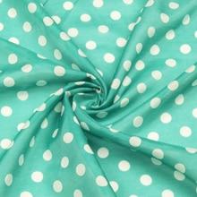 Mini white polka dot print on deep green bottom silk cotton blended fabric,SCT532