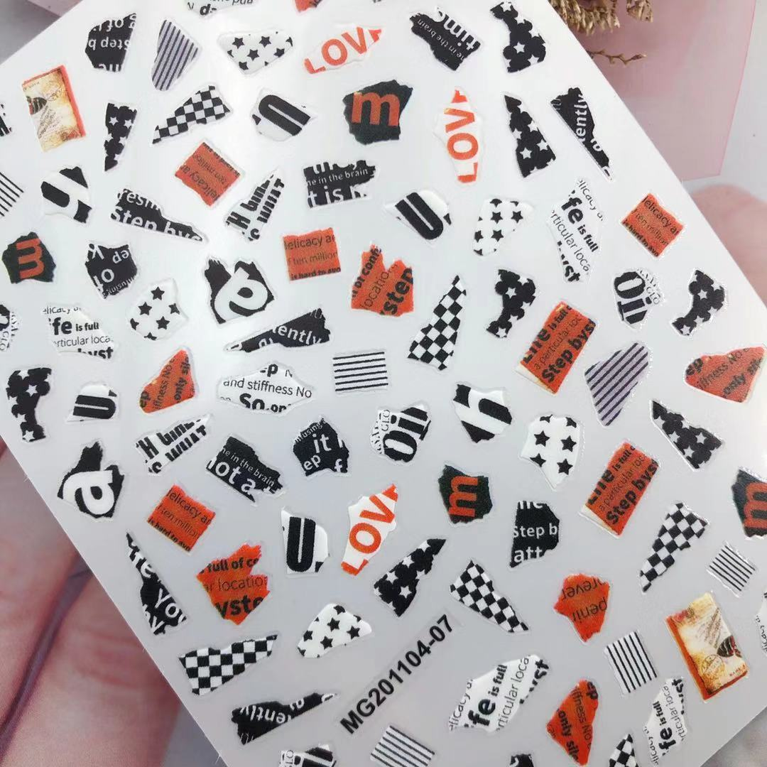 3D Nail Sticker Broken Newspaper Style Design DIY Tips Nail Art Decoration Packaging Self-adhesive Transfer Decal Slider