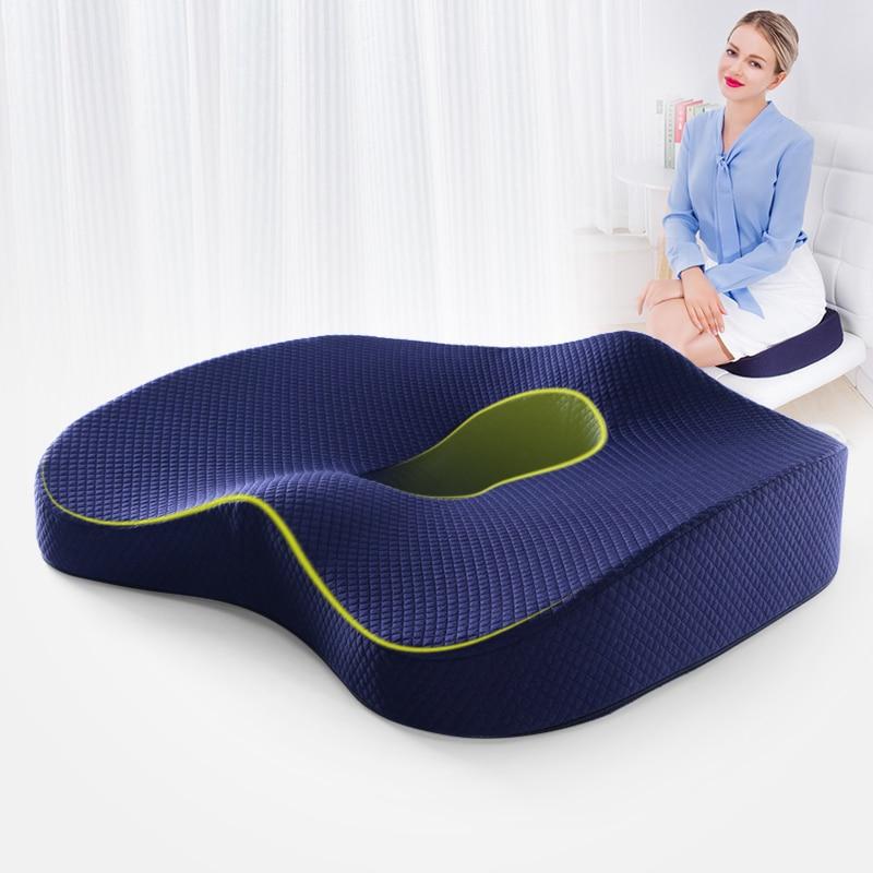 Asiento ortopédico de goma, cojín de masaje para vértebras y coxis, ideal para silla de oficina, coche, de ruedas, espuma de memoria, almohada