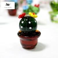 handmade murano glass cactus figurines ornaments tabletop craft adornment creative colorful cute miniature plant for home decor
