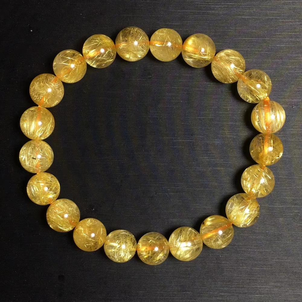 Natural Brasil oro Cuarzo rutilado cristal mujer hombres 9,1mm titanio piedras preciosas redondas transparentes pulsera joyería brazalete AAAA