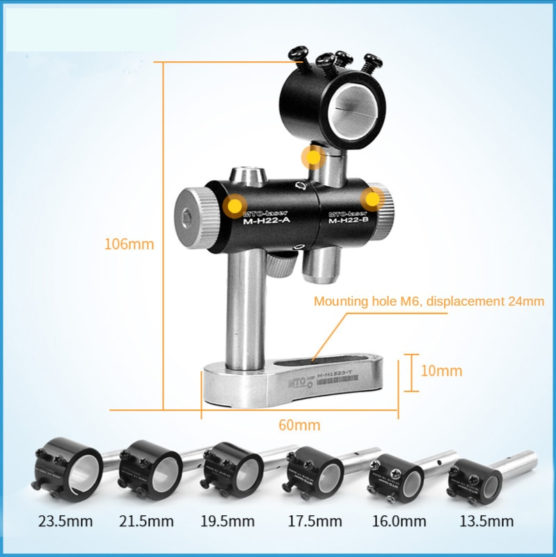 Brand New 13.5/14.5/16/18/20/22/25mm 360 Degrees Adjustable Laser-pointer Module Holder Mount Clamp Three-axis Bracket enlarge