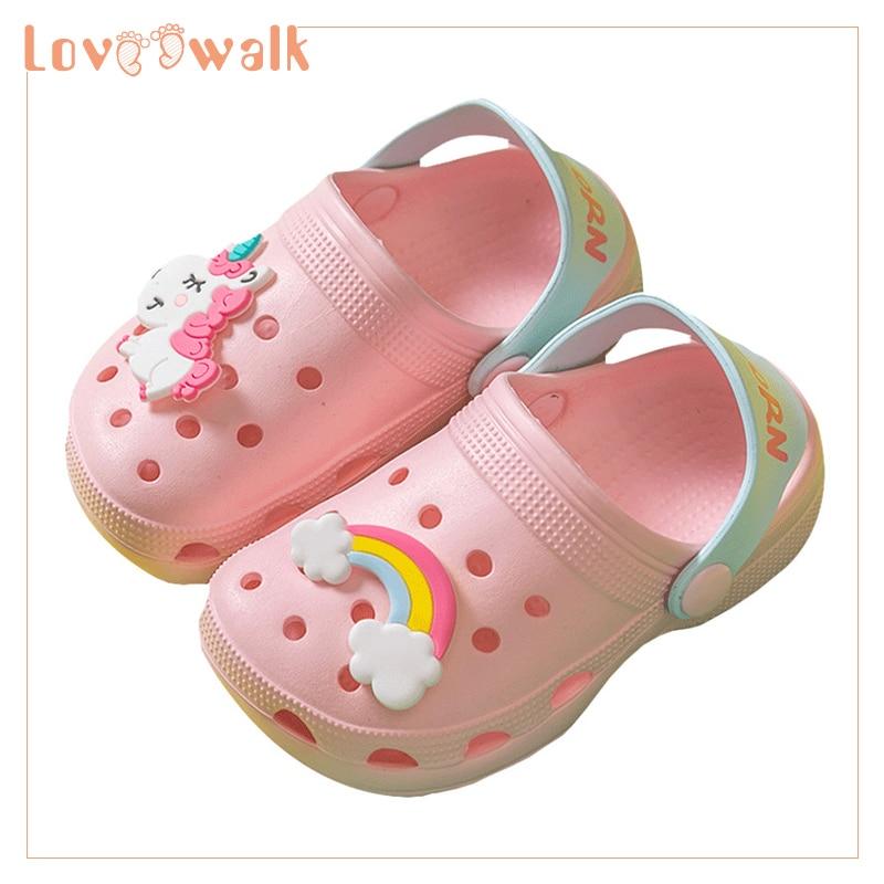 Girls Shoes Clogs Kids Slippers 2019 New Unicorn Shoes Baby Boy Beach Sandals Soft EVA Toddler Girls Sandals Flip Flops Kids