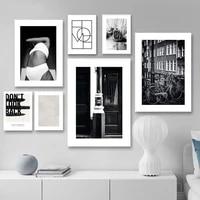 Affiche murale imprimee de paysage de rue  peinture sur toile abstraite en noir et blanc  photographie de decor de piece moderne