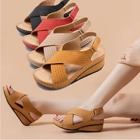 women sandals new summer shoes woman ladies sewing hollow out wedges female casual pu leather comfortable retro sandalisewd4