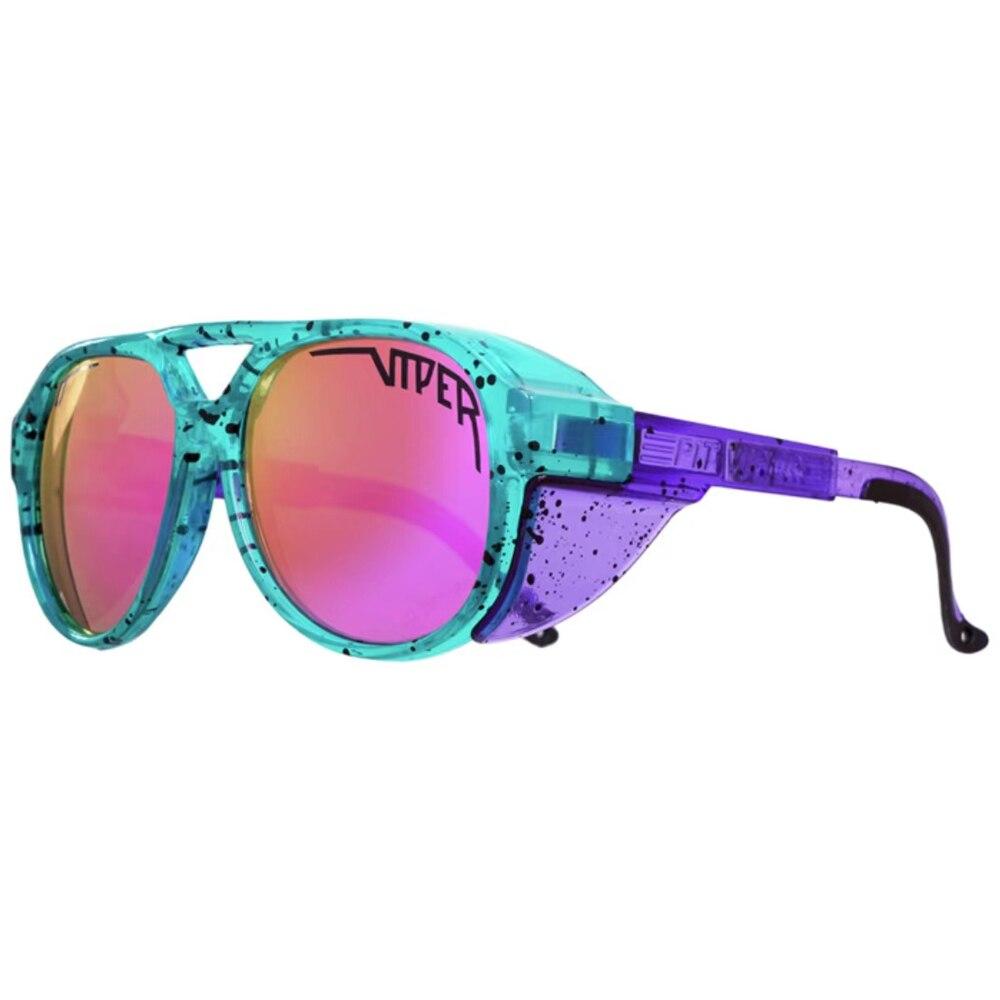 Lunettes de soleil Pit Viper Style pilote, verres miroir UV400, ovales plat, ombres de conduite colorées avec boîte gratuite