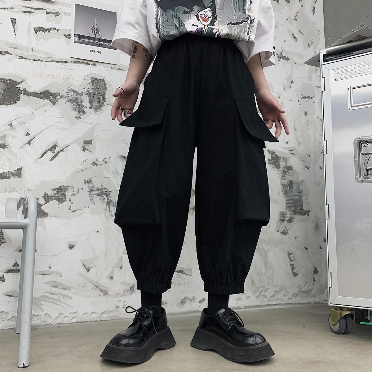 ملابس عمل صيفية كبيرة الحجم ذات جيب كبير مرنة الخصر فضفاضة منخفضة المنشعب هارلان كابريس عصرية ملابس مغسولة