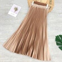 Printemps femmes Midi jupes couleur métallique brillant plissé Jupe couleur unie argent or longue Jupe Satin Femme Jupe bureau dame