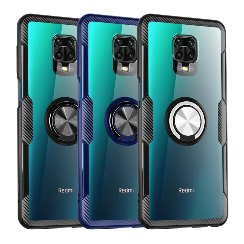 Transparent Stoßfest Fall Für Xiaomi Redmi Hinweis 10 10S 9S 9 Pro Max 8T 8 7 Mi 10 11 10T POCO X3 NFC M3 F3 Ring Halter Abdeckung auf