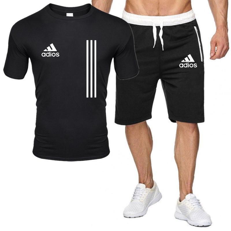 2021 Men's T-shirt + shorts tracksuit new sports suit men's summer beach football sportswear short sleeve round neck casual