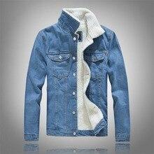 kurtka mujiski Winter Mens Plus velvet Cotton Denim Jacket Male Thick Warm Lined Fleece Jeans Jackets black slim jeans coat Top