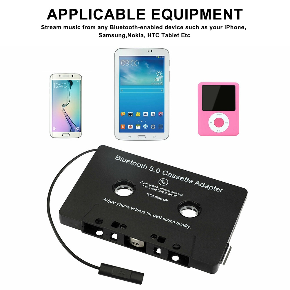 Car Cassette Adapter auto radio мп3 плеер фм модулятор with Microphone 6H Music Time 168H Standby New Car Audio Bluetooth 5.0