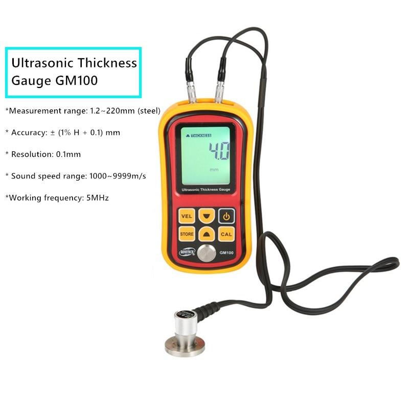 الرقمية بالموجات فوق الصوتية قياس سمك GM100 1.2 ~ 225 مللي متر سرعة الصوت متر 1000-9999 متر/الثانية المعدن والزجاج قياس الآلات 40% قبالة