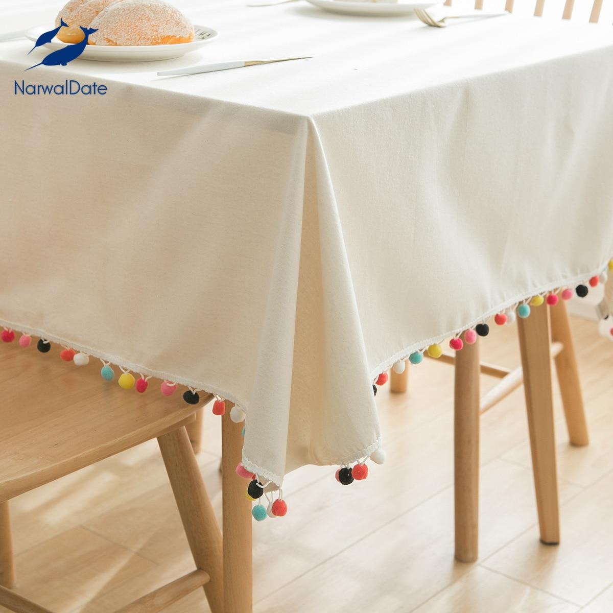 Mantel de lino blanco Para Mesa Rectangular, decoración de boda, de encaje,...