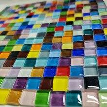 300pcs Colorful Crystal Mosaic Tiles Mosaic Materials for Children/Kids DIY Craft Handmade Glass 1*1cm Square Mosaic Stones