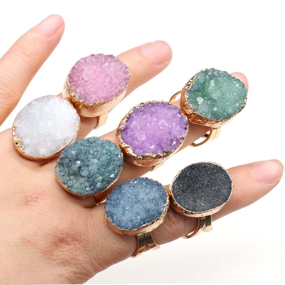 Natural Druzy Agates Rings Diamon-Studded Open Finger Rings Irregular Charm Rings for Women Men Party Wedding Jewelry