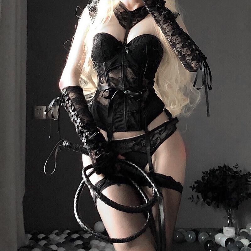 Sexy disfraz de mucama Cosplay corsé de encaje Lencería erótica mujer corsé de prenda superior Tops medias Liga cinturón de moda ropa interior