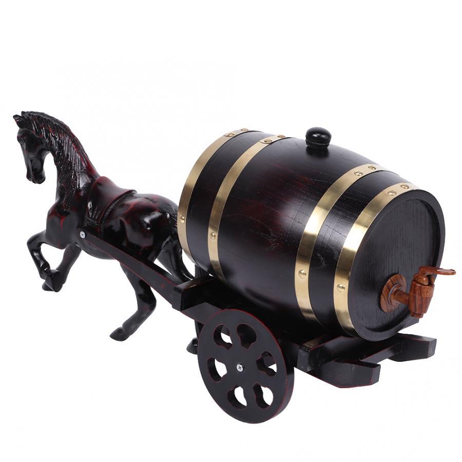 3l 가정용 양조 오크 나무 와인 배럴 통 통 통 말 그린 카트 장식 럼 냄비 위스키 와인