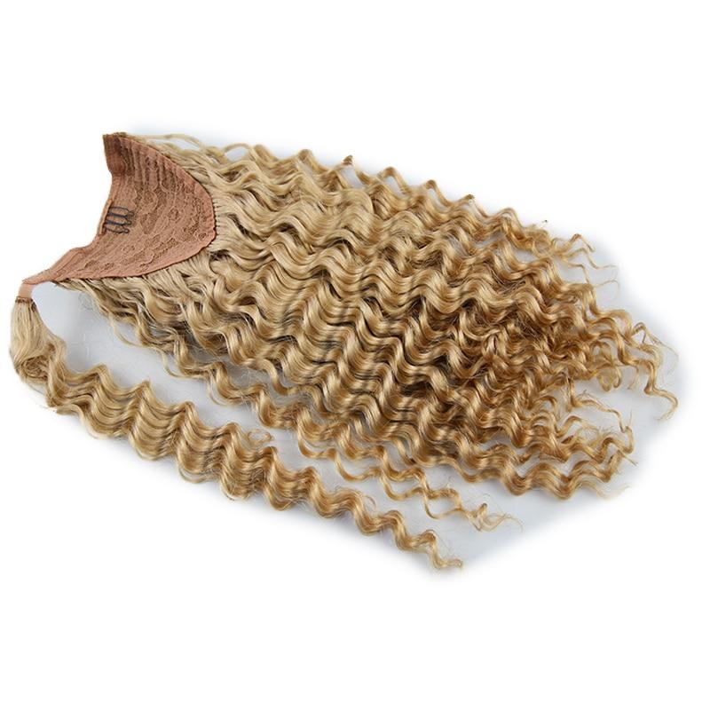 Real Russian Ponytail Human Hair Wrap Around 100% Deep Wave Virgin Human Hair Ponytail Extensions 100g