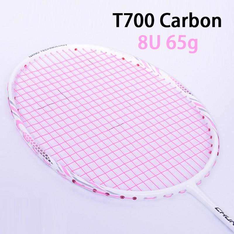 Pink T700 Carbon Fiber Badminton Rackets With String Bag Professional Racket Super Light 8U Racquet 65g-68g Speed Sports Padel
