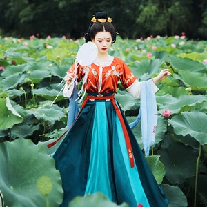 Womens 3 Pieces Set Embroidered Chinese Hanfu New Style Traditional Tang Dynasty Princess Costume Party Cosplay Daily Clothing