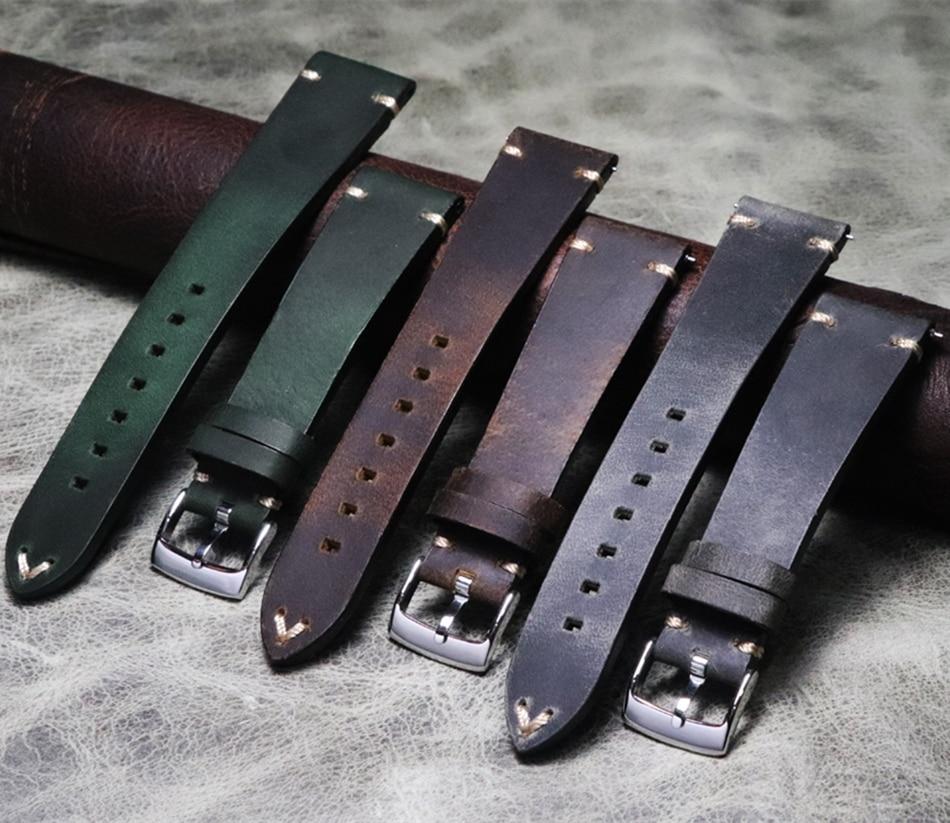 Masculino feminino artesanal 20mm 21mm 22mm lleather strap retro verde marrom cinza louco pele de cavalo liberação rápida pulseira