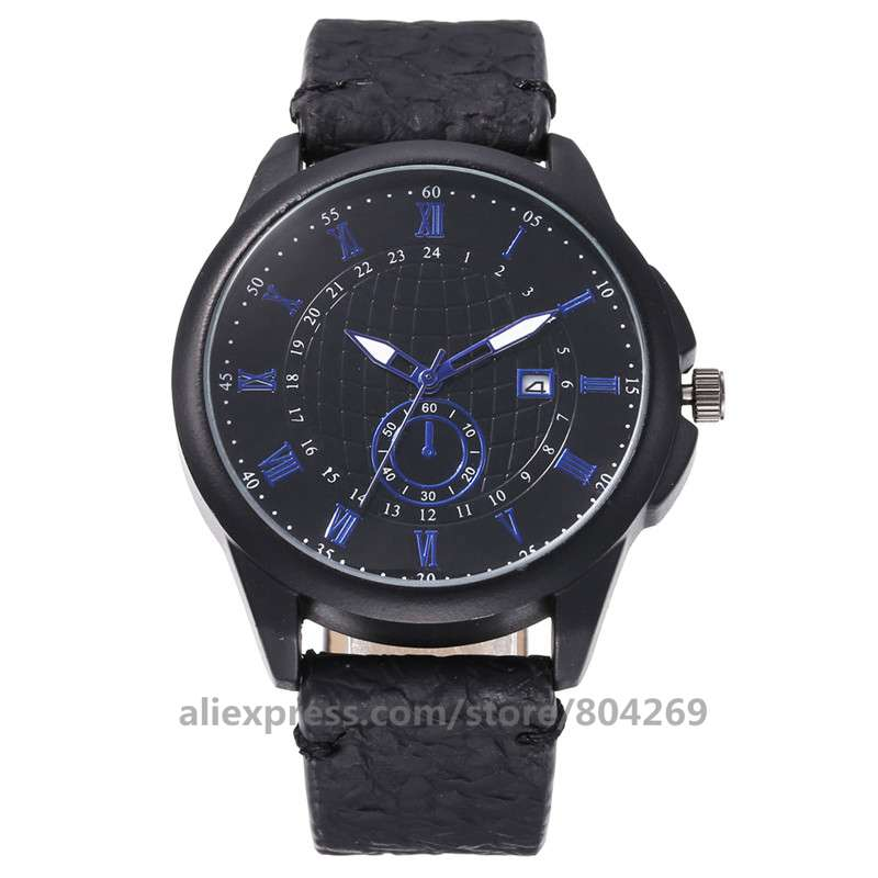 موضة ساعة عادية للرجال رقيقة حزام من الجلد ساعات المعصم رائجة البيع تاريخ ساعة Relogio Feminino 920512