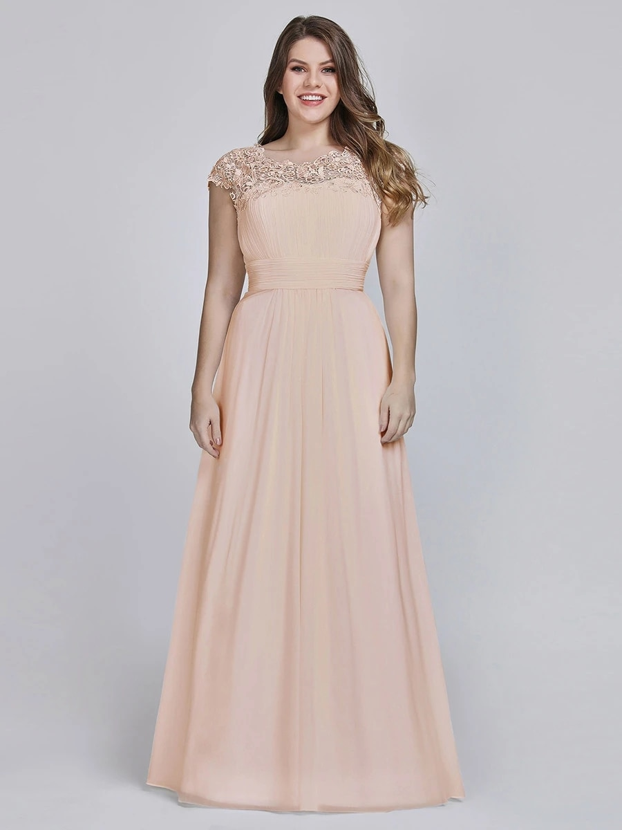 Lacey Neckline Open Back Ruched Bust Plus Size Evening Dresses