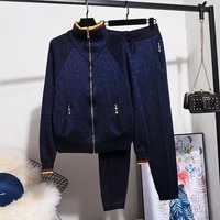 dark blue bright silk sports knitted tracksuits women outfits turtleneck zipper cardigan sweater pants 2pc loose knit set female