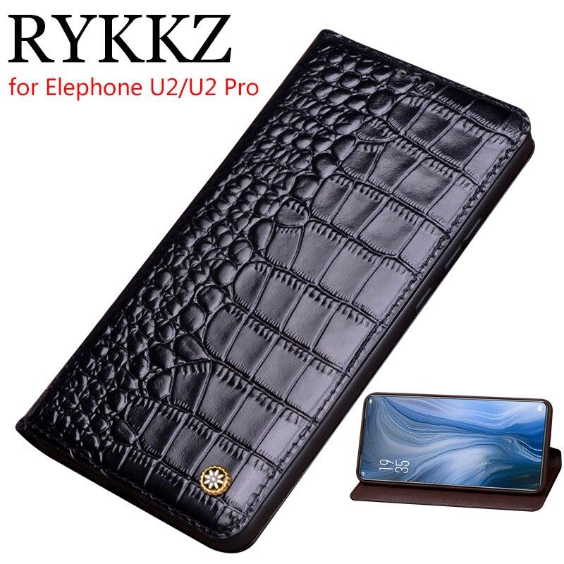 RYKKZ Funda de cuero genuino para Elephone U2 funda magnética para Elephone U2 Pro Funda de cuero Fundas de teléfono Fundas