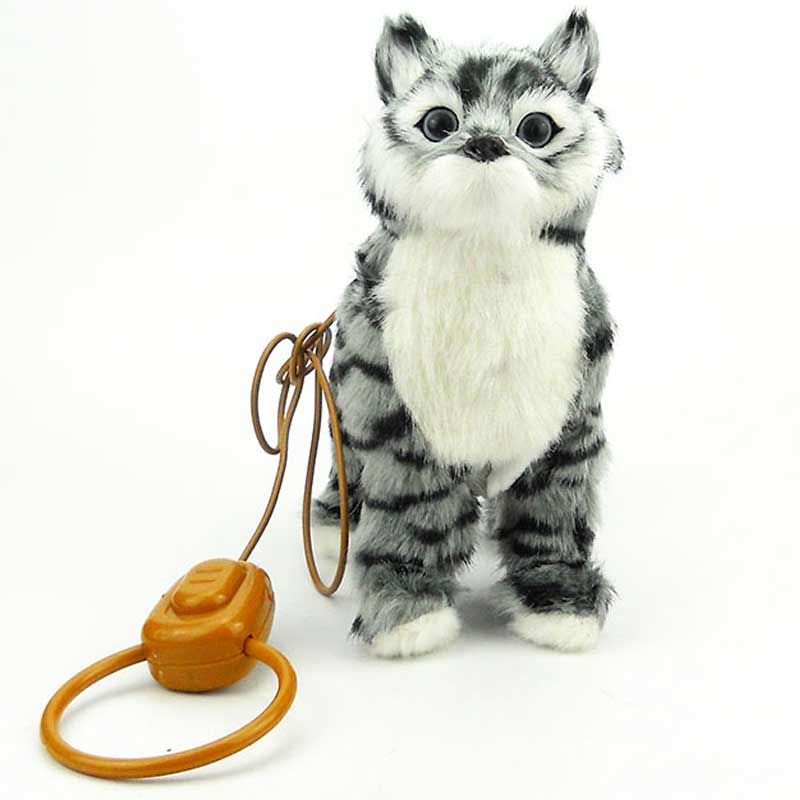 Robot Cat Electronic Plush Cat Singing Songs Walk Electric Kitten Leash Control Music Kitty Pet Cute Animal Toy For Kids Gift